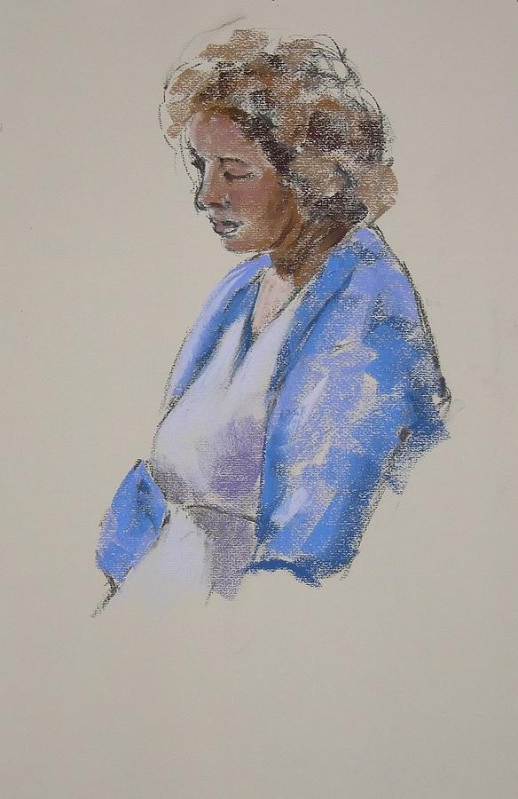 Women Painting - Rose In Her Blue Shawl by Mary McInnis