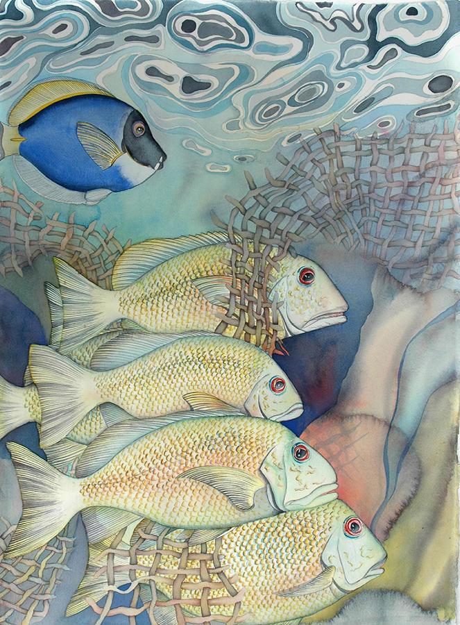 Sealife Painting - Rose Island II by Liduine Bekman