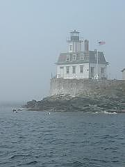 Lighthouse Photograph - Rose Island In The Fog by Tara Corbett