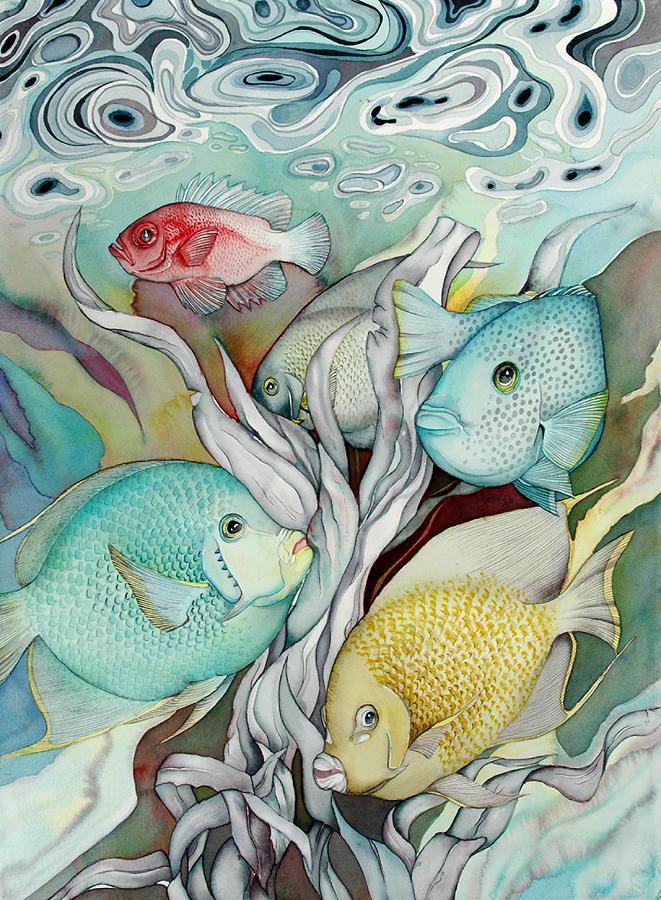 Sealife Painting - Rose Island Iv by Liduine Bekman
