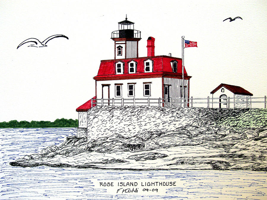 Pen And Ink Landscape Drawings Drawing - Rose Island Lighthouse by Frederic Kohli
