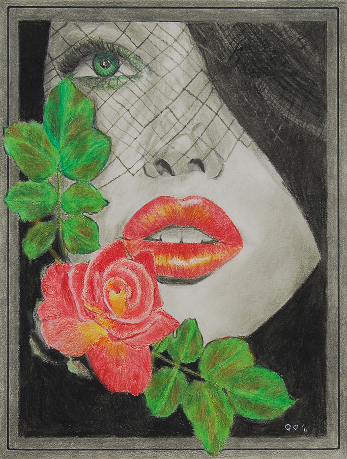 rose kisses 2 drawing by quwatha valentine