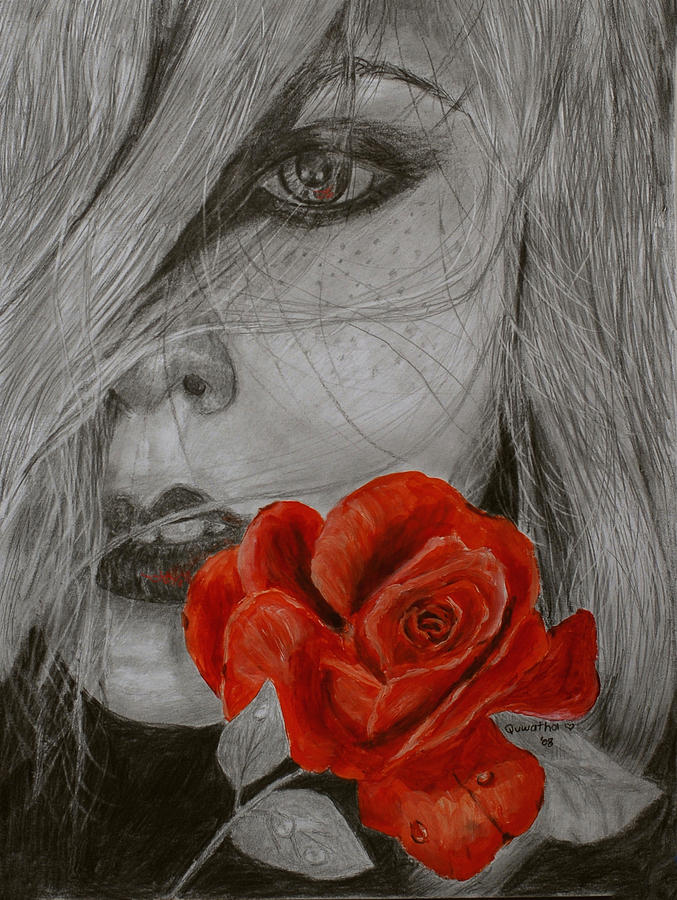 Woman Painting - Rose Kisses by Quwatha Valentine
