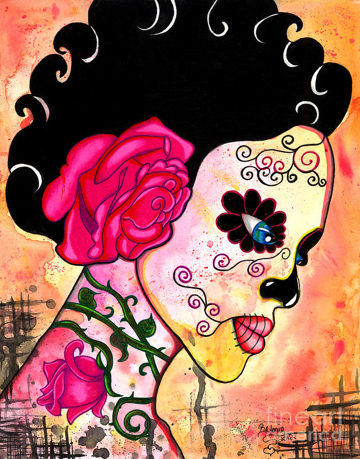 Sugar Skull Painting - Rose Noose by B Marie
