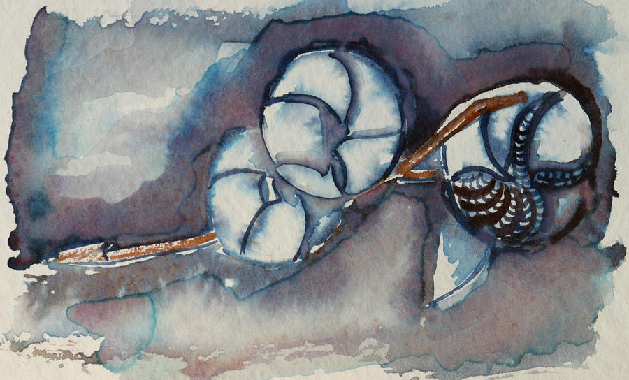 Flower Painting - Rose Of Sharon Seed Pods by Diana Davenport