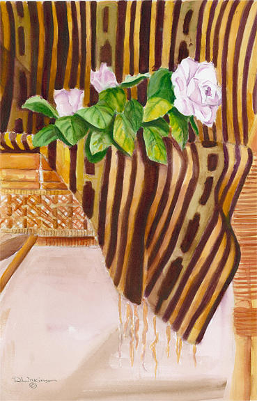 Still Life Painting - Rose On Mudcloth by Leonard R Wilkinson