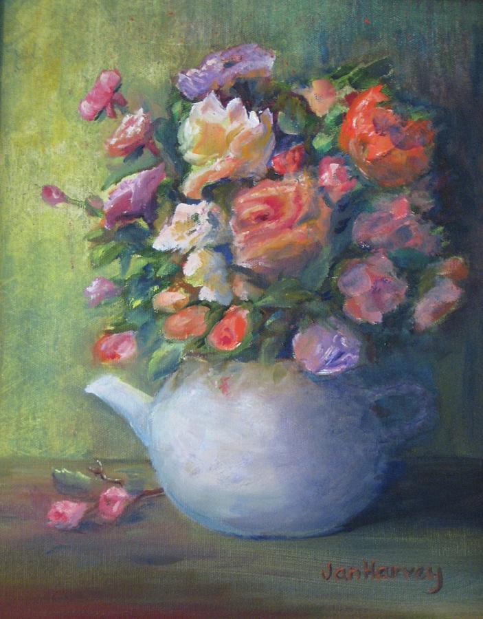 Red Painting - Rose Petal Tea Pot by Jan Harvey