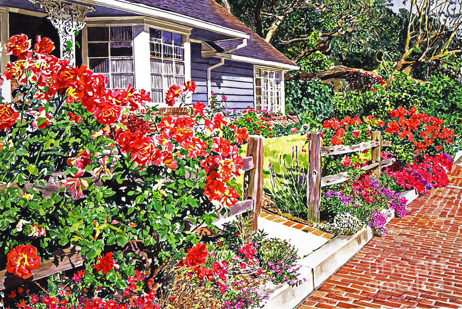 Gardens Painting - Rose Ranch House - Bel-air by David Lloyd Glover