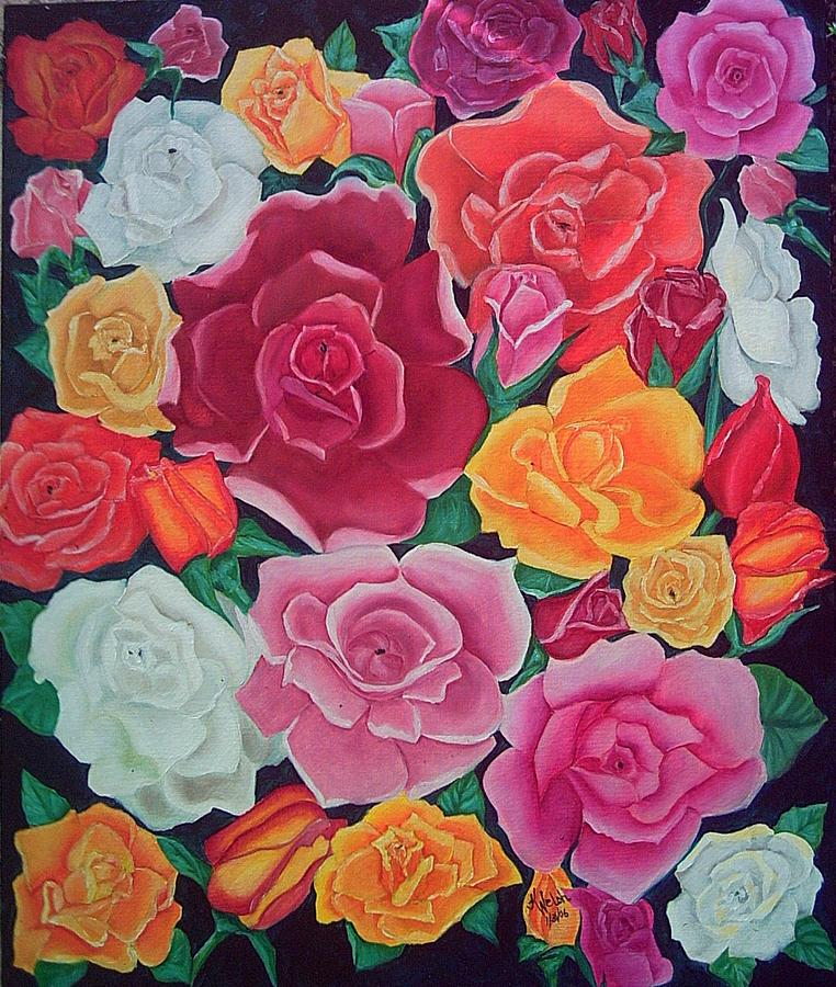 Rose Painting - Rose Reunion by Kathern Welsh