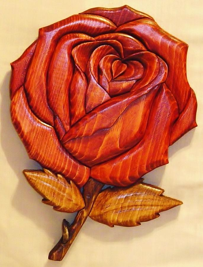 Intarsia Sculpture - Rose by Russell Ellingsworth