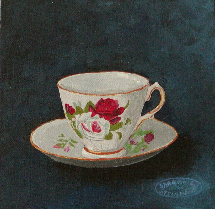 Rose Teacup Painting by Sharon Steinhaus
