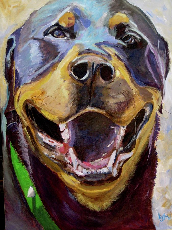 Rose The Rottweiler Painting by Kellie Straw