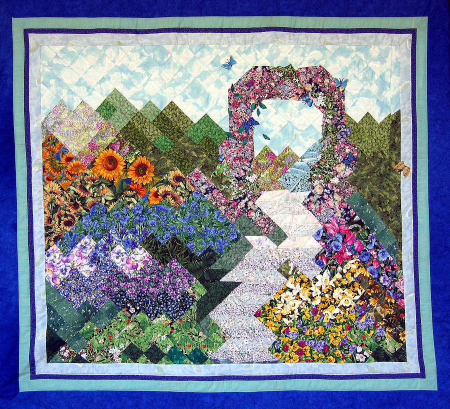 Garden Tapestry - Textile - Rose Trellis Garden by Sarah Hornsby