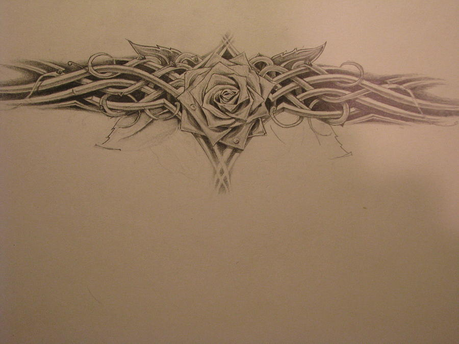 Rose Tribal Drawing by Jared Rice