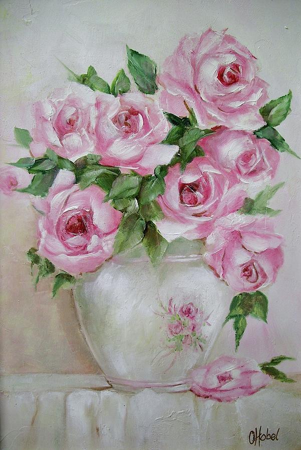 Rose Vase Painting By Chris Hobel