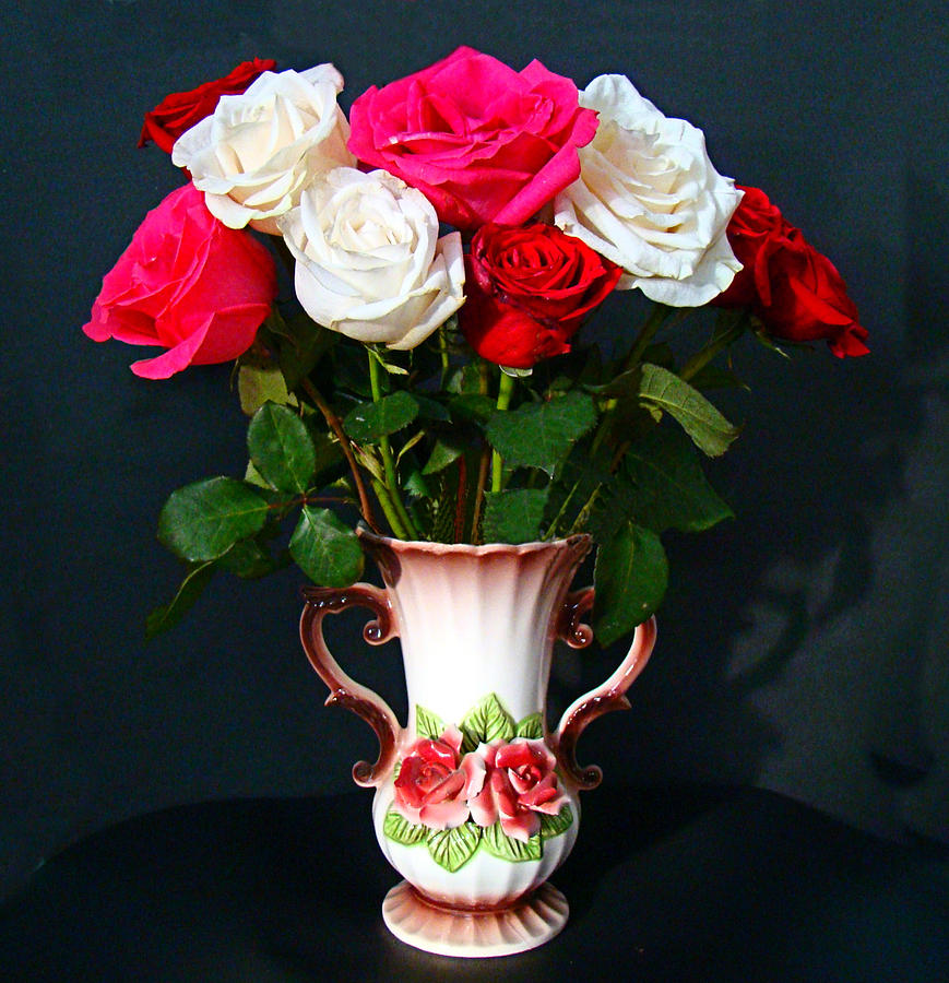 Vase Photograph - Rose Vase by Nick Kloepping