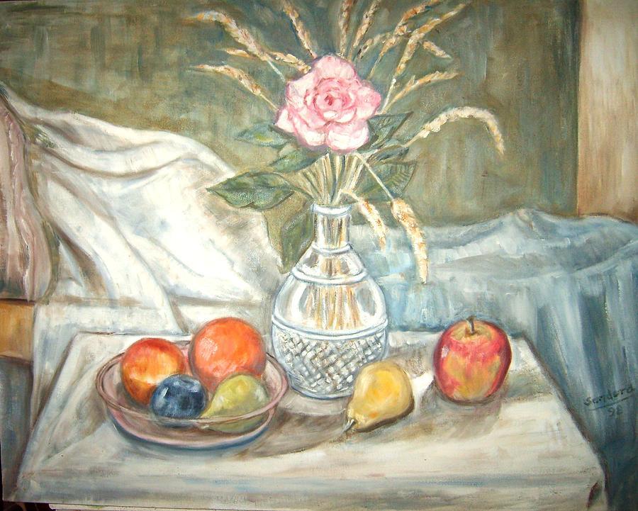 Rose with fruit Painting by Joseph Sandora Jr