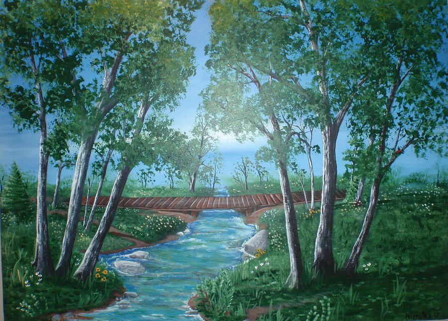 Folk Painting - Roseanne And Dan Connors River Bridge by Susan Michutka