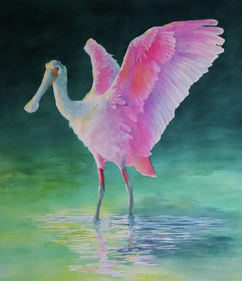 Roseate Spoonbill Stretching Wings by George Harth