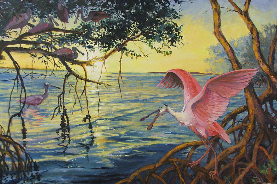 Acrylic Painting Painting - Roseate Spoonbills Among The Mangroves by Dianna  Willman
