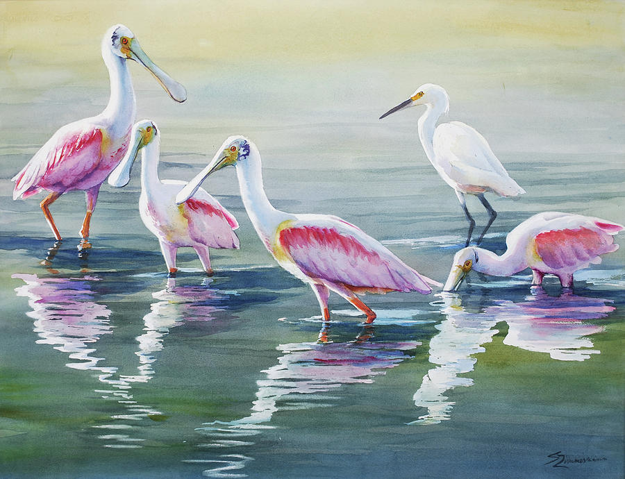 Roseate Spoonbills and a Friend by Sue Zimmermann