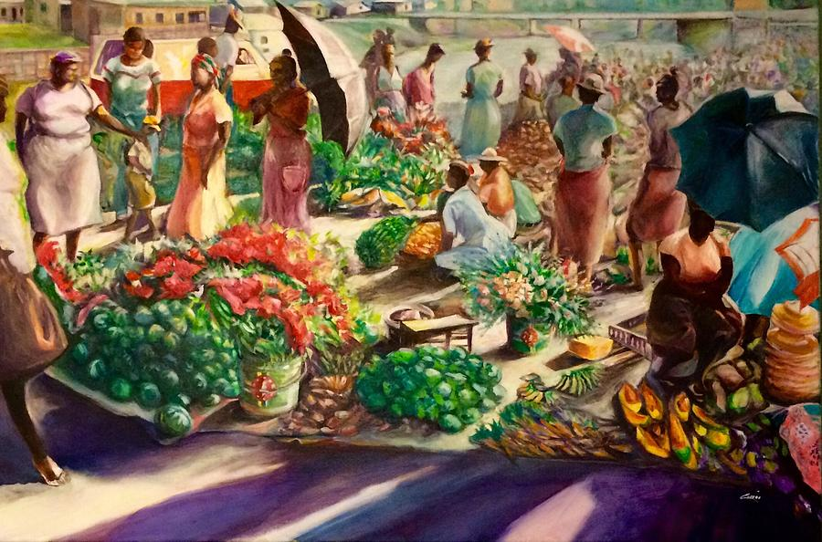 roseau market dominica painting by christian george