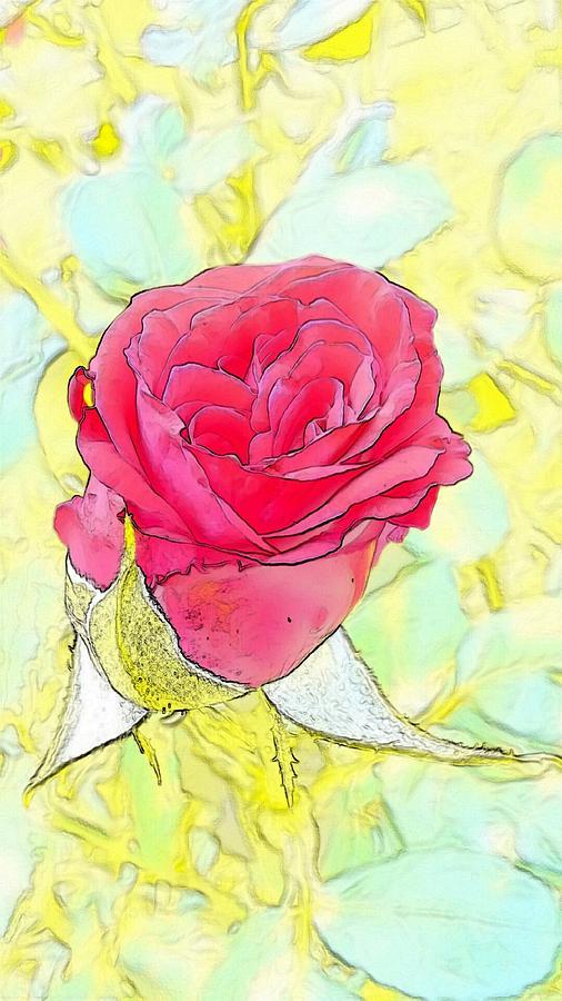 Rosebud Digital Art - Rosebud by Kumiko Izumi