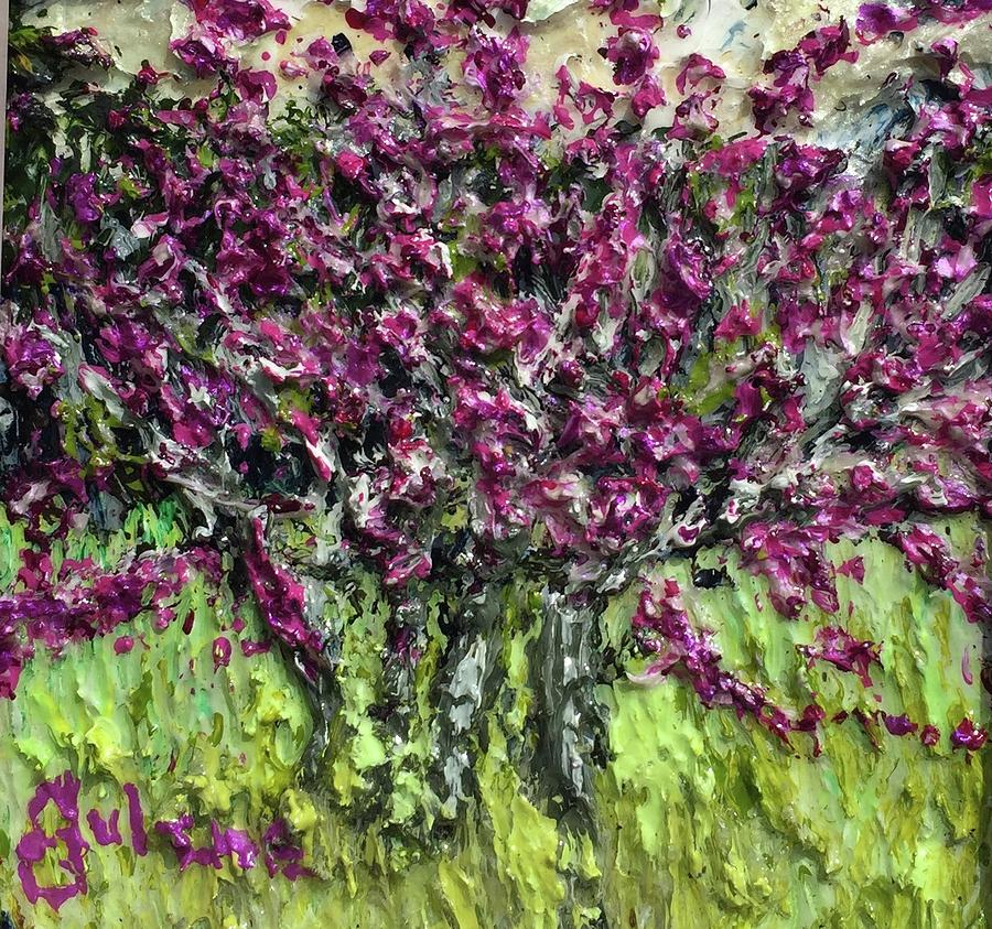 Rosebud Tree On A Cloudy Day Painting By Julene Franki