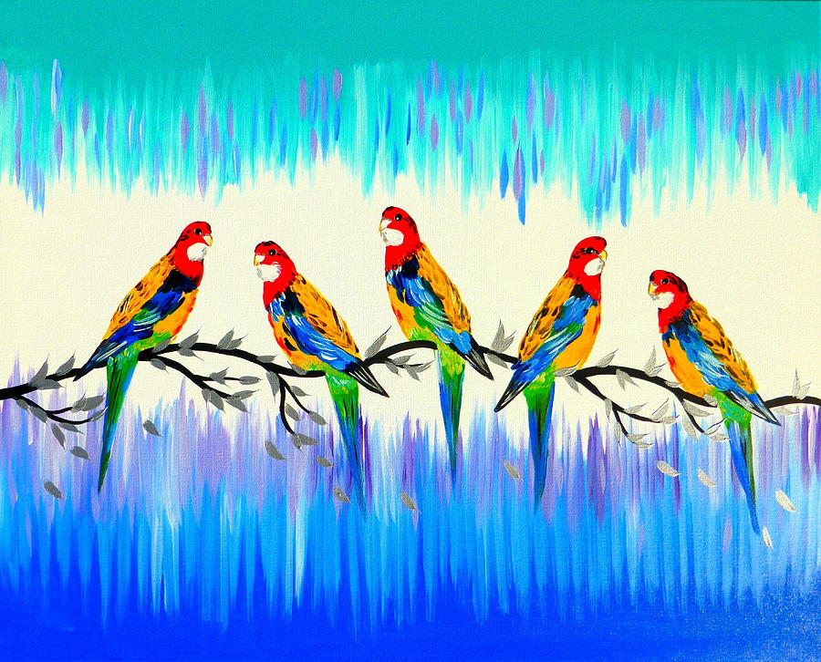 Australia Painting - Rosellas by Cathy Jacobs
