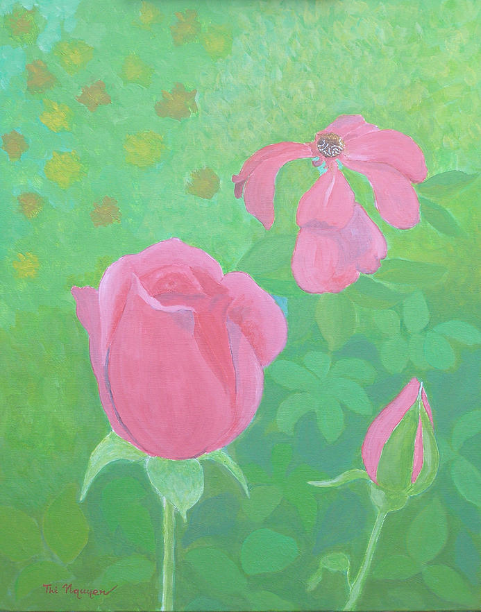 Roses Painting - Roses - Rising And Fading by Thi Nguyen