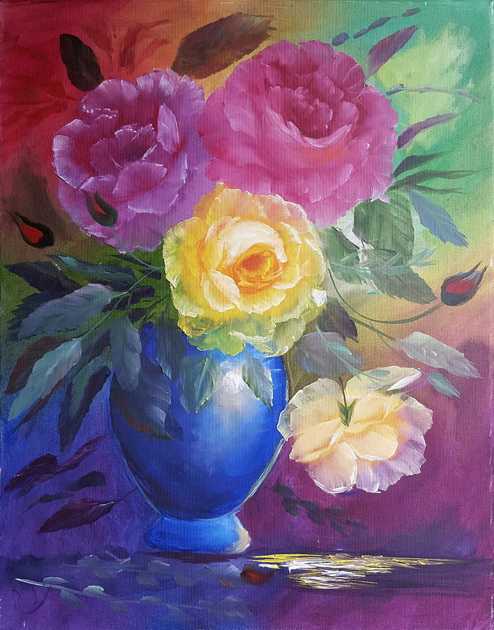 Roses and a Blue Pot by Russell Collins