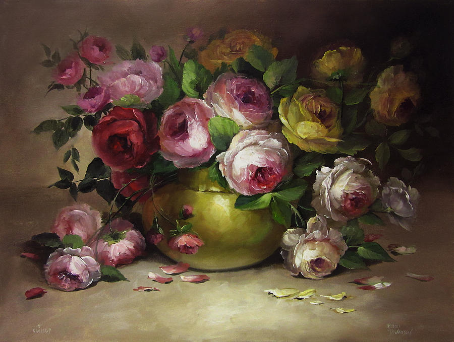 Roses And Brass Painting By David Jansen