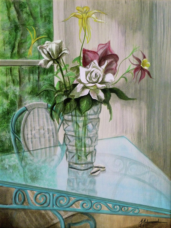 Roses Painting - Roses And Columbine by Marcella Muhammad