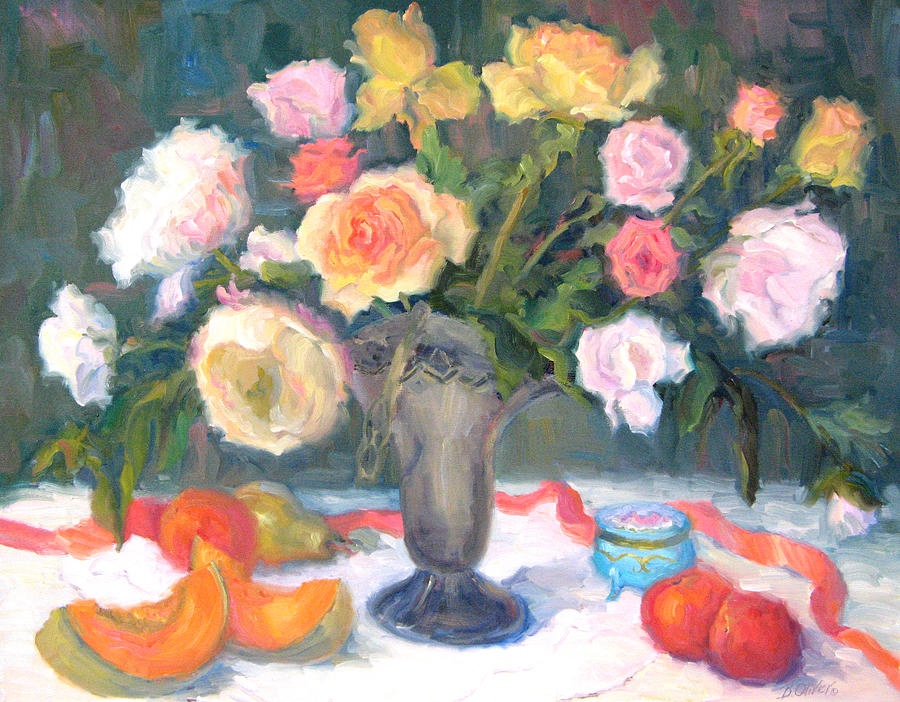 Roses Painting - Roses And Fruit by Bunny Oliver