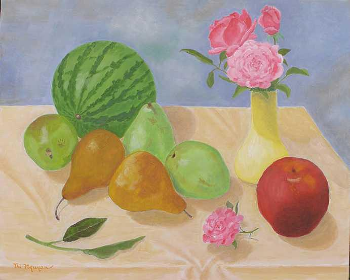 Still Life Painting - Roses And Fruits No 5 by Thi Nguyen