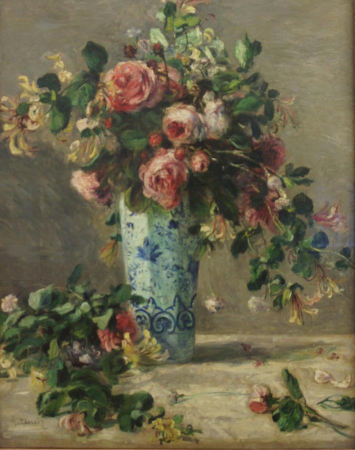 Pierre Auguste Renoir Painting - Roses And Jasmine In A Delft Vase by Pierre Auguste Renoir
