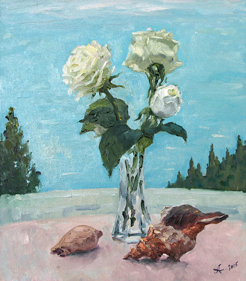 Roses And Seashells Painting
