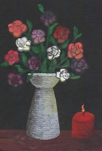 Roses By Candlelight Painting by Ginger Strivelli