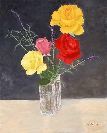 Still Life Painting - Roses Family Of Four by Thi Nguyen