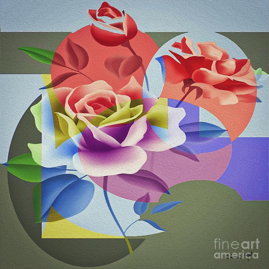 Abstract Digital Art - Roses For Her by Eleni Mac Synodinos