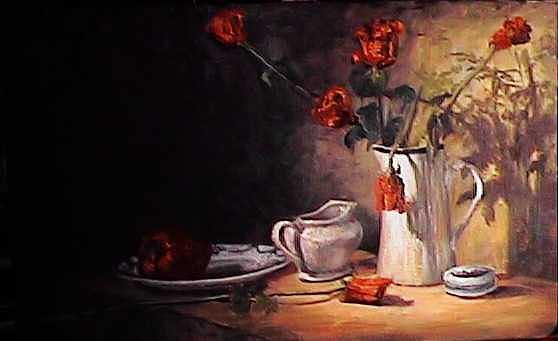 Roses Painting by Frank Stock