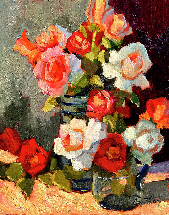 White Roses Painting - Roses From My Garden by Diane McClary
