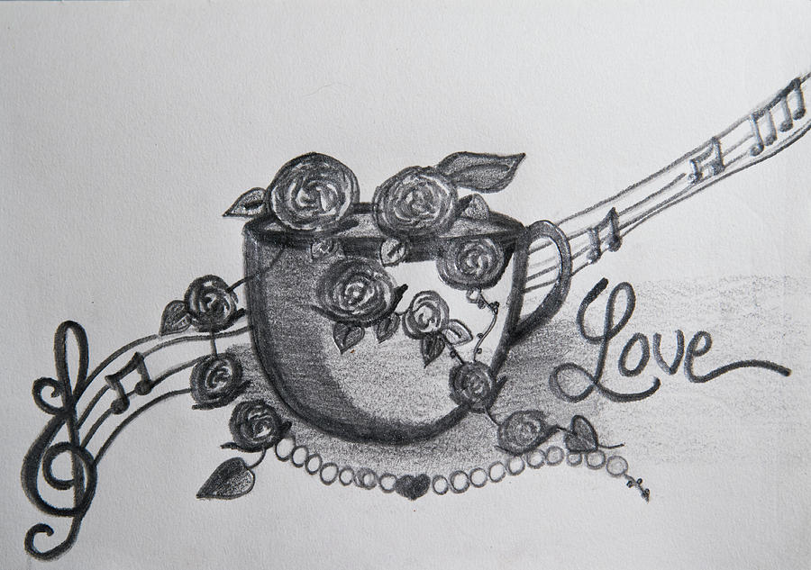 Roses Drawing - Roses in a cup by Lynette Fekete