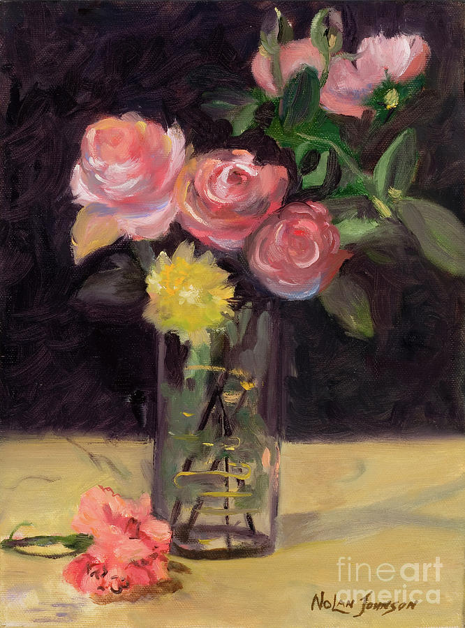 Roses In A Glass Vase after Edouard Manet by Marilyn Nolan-Johnson by Marilyn Nolan-Johnson