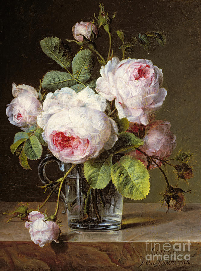 Roses In A Glass Vase On A Ledge Painting By Cornelis Van Spaendonck