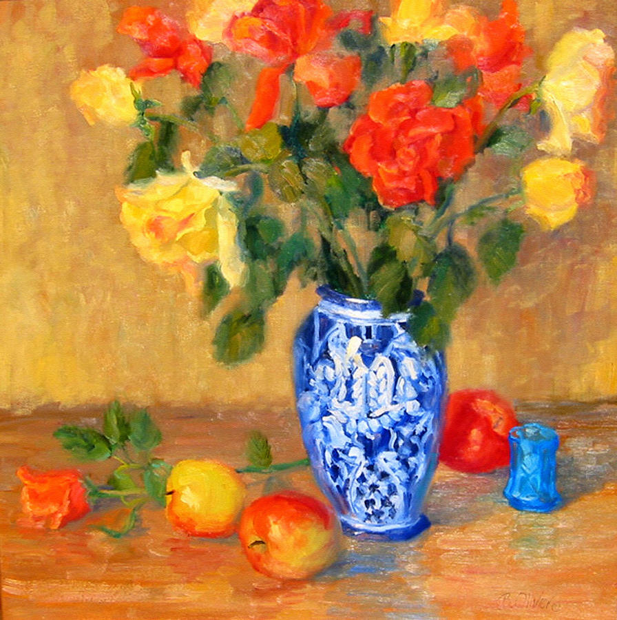 Rose Painting - Roses In A Mexican Vase by Bunny Oliver