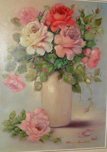 Florals Painting - Roses In Beige Vase by Catherine Amendola