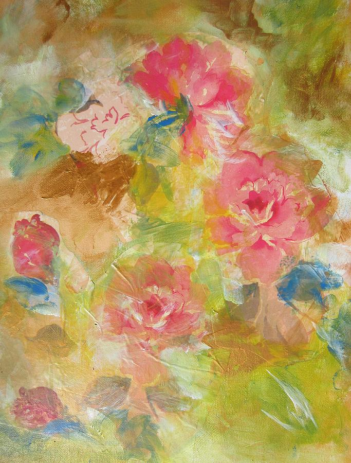 Pink Roses Painting - Roses In Bloom by Denice Palanuk Wilson