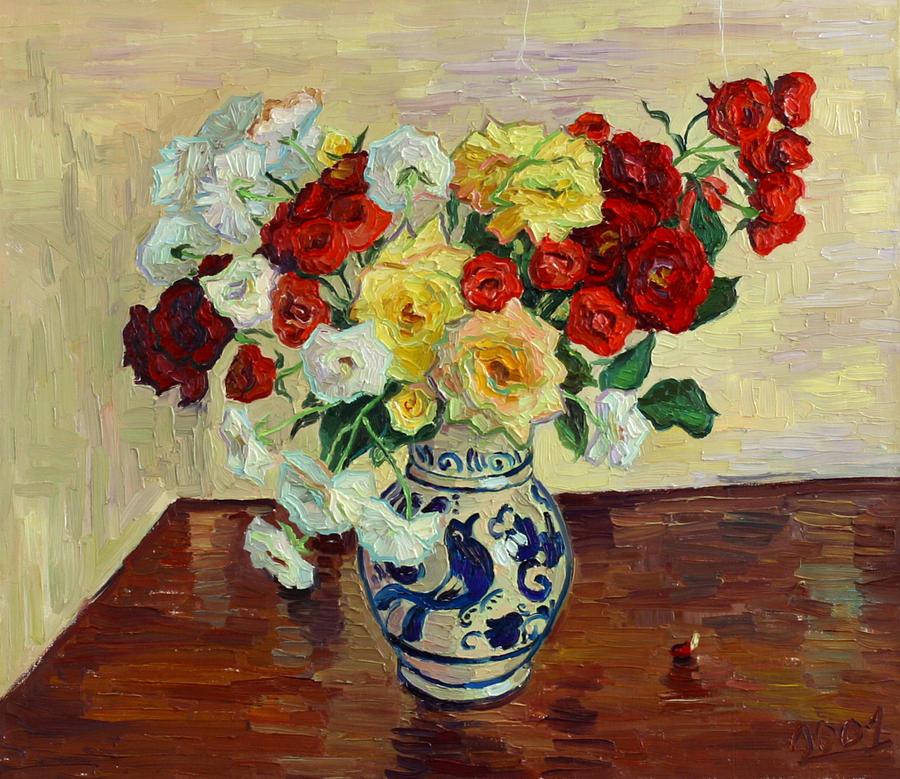 Rose Painting - Roses In Chinese Vase by Vitali Komarov