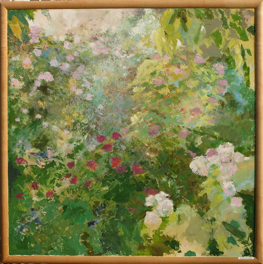Landscape Painting - Roses In Garden by Krystyna Suchwallo